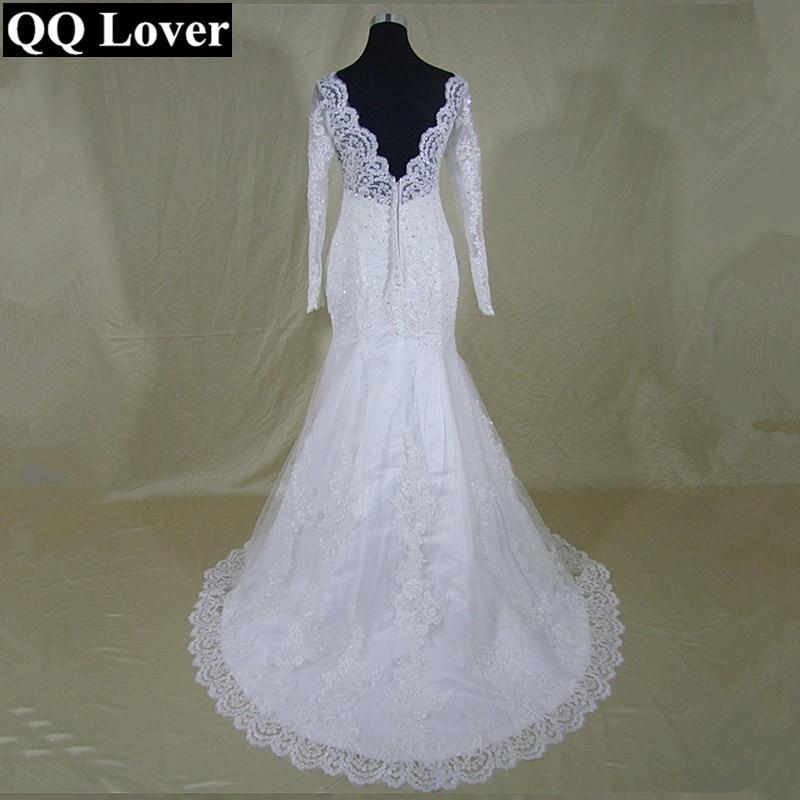 2019 Long Sleeves Mermaid Wedding Dresses Lace Cheap Wedding Bride Dress Real Pictures Vestido De Noiva