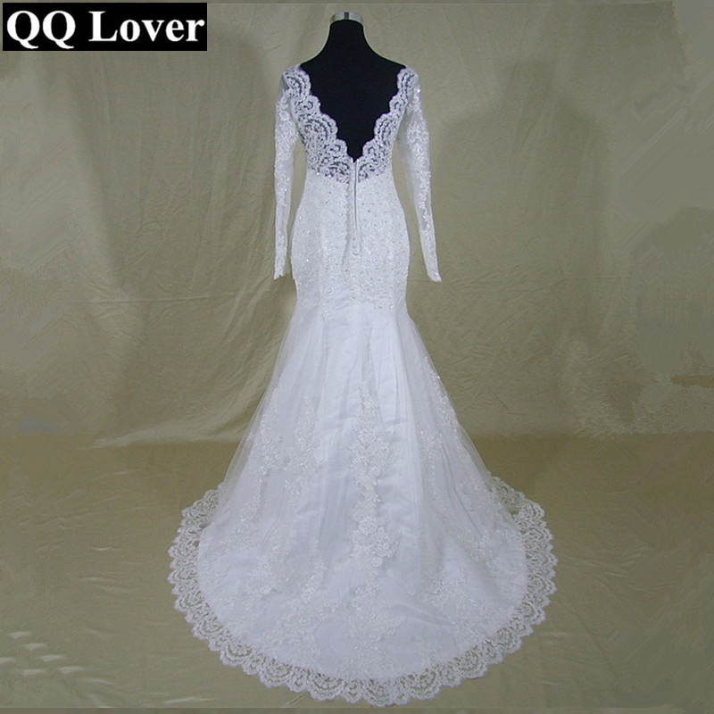 2019 Long Sleeves Mermaid Wedding Dresses Lace Cheap Wedding Bride Dress Real Pictures Vestido De Noiva-in Wedding Dresses from Weddings & Events    1