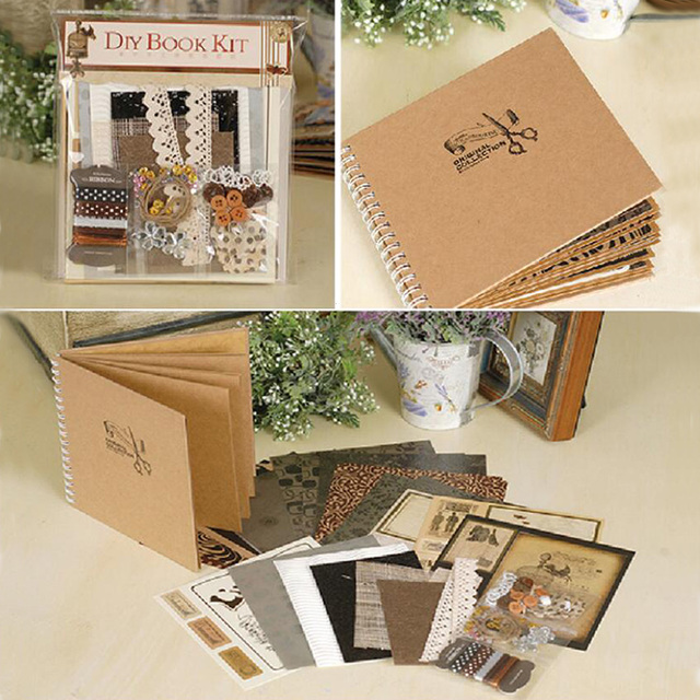 eno greeting 6inch vintage scrapbook kit for family friend kids diy polaroid album retro. Black Bedroom Furniture Sets. Home Design Ideas