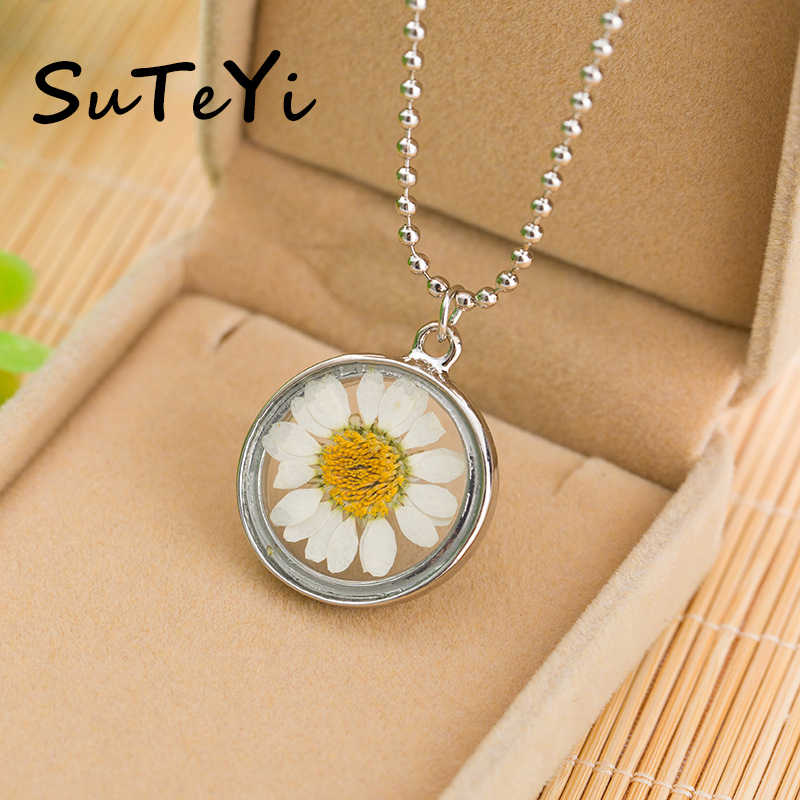SUTEYI Charms Sunflower Dried Flowers Necklace Glass Cabochon Pendant Silver Color Bead Chain Necklaces Women Wedding Jewelry