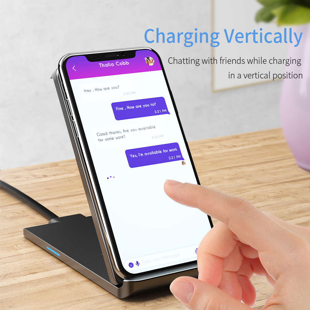Essager Qi Wireless Charger For iPhone 11 Pro XS Max X 8 Plus Samsung Note 10 10W Fast Wireless Charging Pad Dock Station Stand