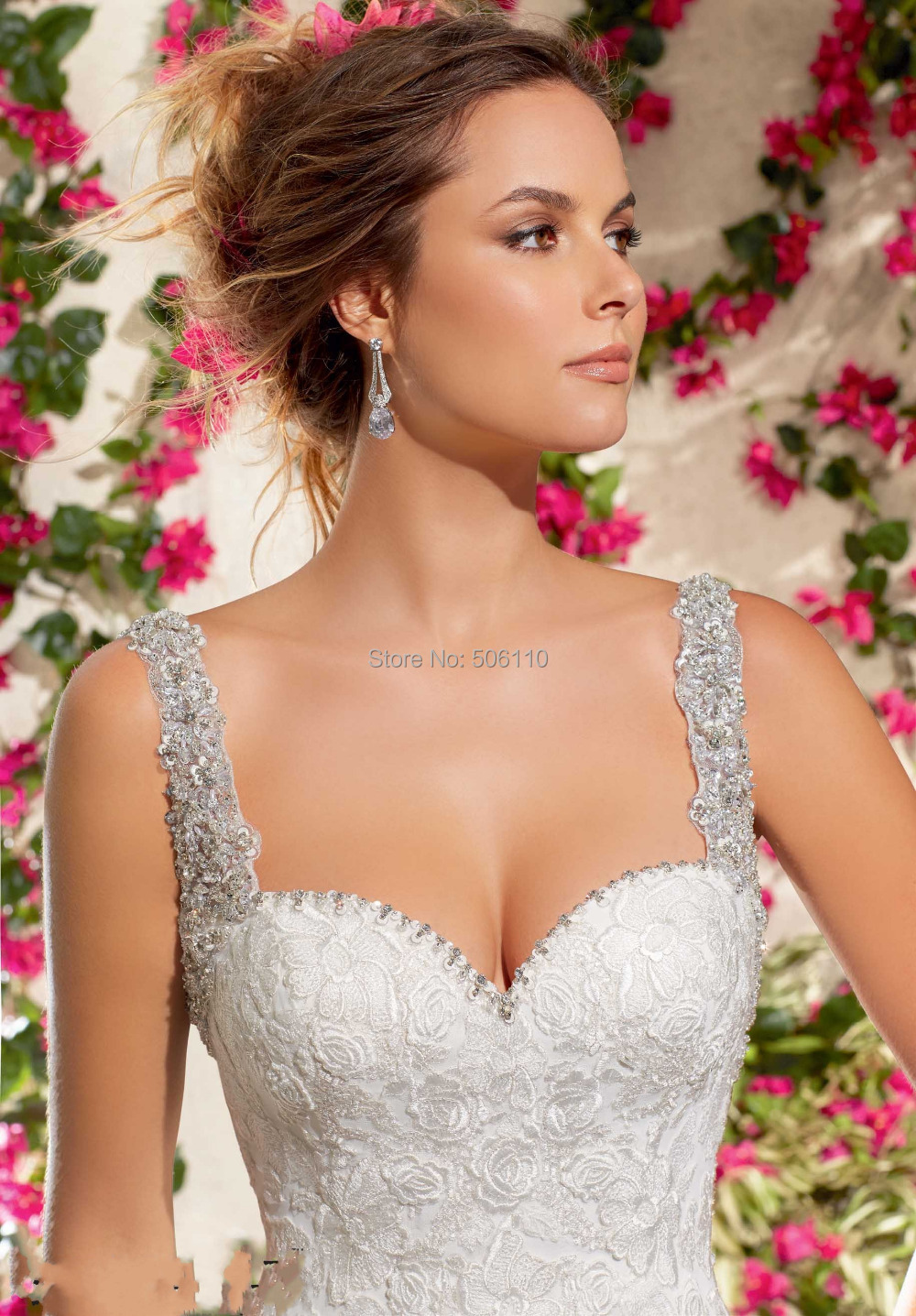 strapless sweetheart beaded wedding dress with high front slit hswdh beaded wedding dress