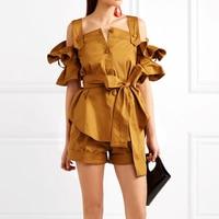 TOP QUALITY New Fashion Runway 2018 Designer Suit Set Women's Spaghetti Lacing Belt Blouse Tops Shorts Suit Set