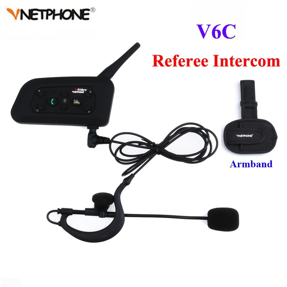 1PCS V6C Wireless Bluetooth Earphone Sccoer Referee Intercom Headset Full Duplex Interphone Two-way Football Coach Intercom