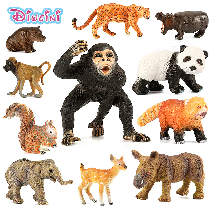 Zoo simulation mini animal models figures toys Panda Elephant Deer Squirrel Tiger Lion Leopard Hippo Bear Figurine Kids Gift toy lps pet shop toys rare black little cat blue eyes animal models patrulla canina action figures kids toys gift cat free shipping