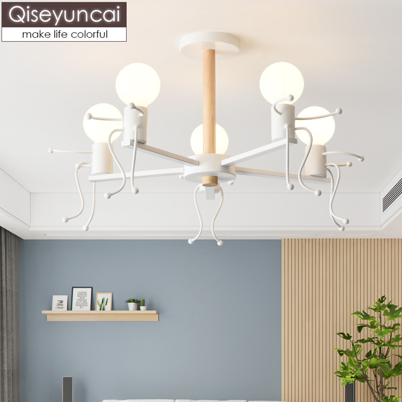 Qiseyuncai Nordic modern children 39 s room chandelier simple cartoon doll male girl room kindergarten bedroom lamps free shipping in Pendant Lights from Lights amp Lighting