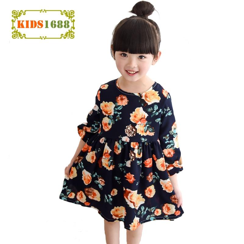Toamna Girl Fata Rochii Rochie 2016 Moda Flori Kids Fata Rochii - Haine copii