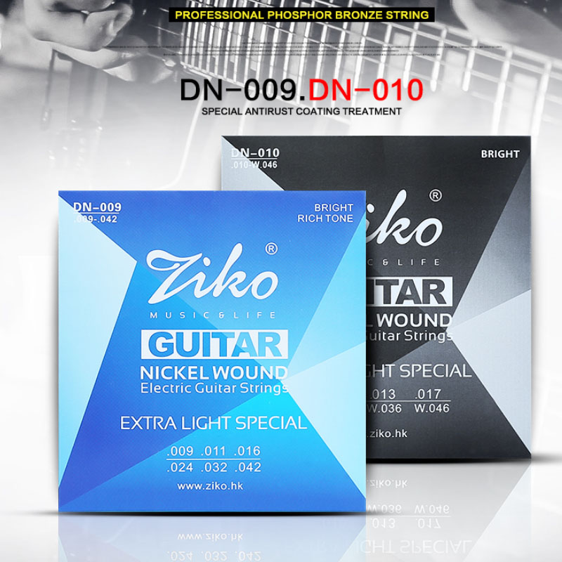 ZIKO Electric Guitar Strings Extra Light DN Series 009-042 And 010-046 Inch Nickel Wound Hexangon Alloy Core
