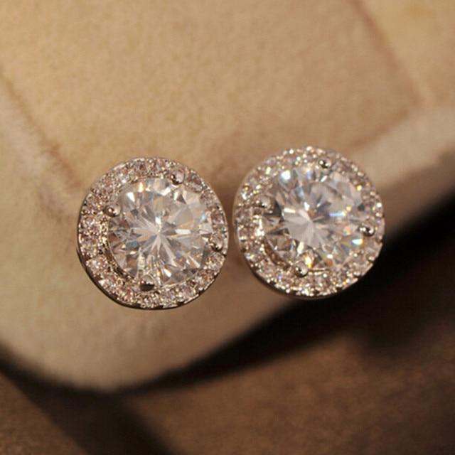 5e2d17d2d AINOUSHI 4 Prongs Round Brilliant Cut Sona Stud Earring Women Engagement  Wedding Halo Earring Boucle D'oreille Femme Sz3.5-6.5mm