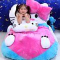 Fancytrader 140 см Х 100 см Фаршированные Мягкие Гигант Прекрасный Hello Kitty Кровать Ковер Диван Татами для Малыша, хороший Подарок, бесплатная Доставка FT50311