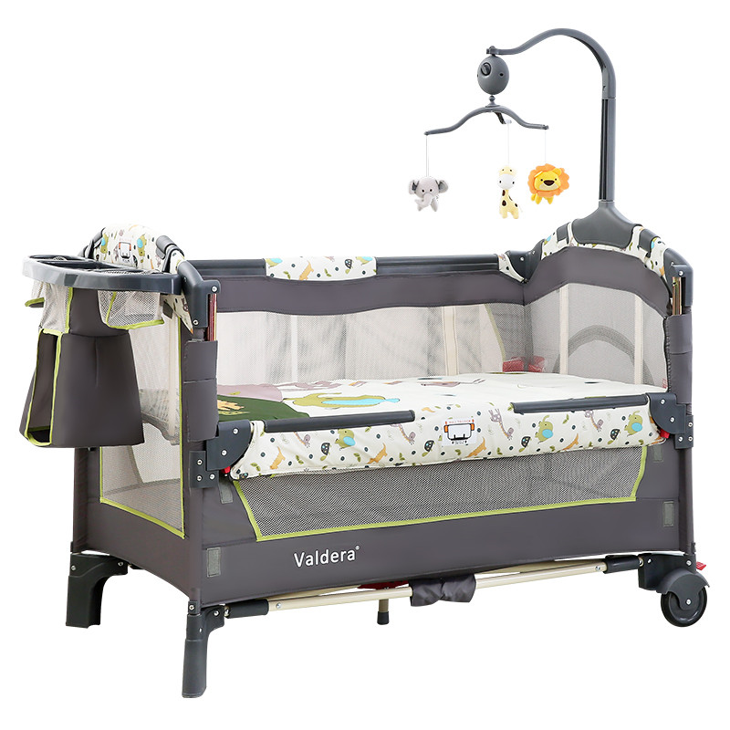 Valdera Portable Folding Baby Bed Multifunctional Baby Bed Splicing Bed, Newborn Cradle Folding