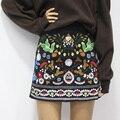 Чешского vintage вельвет короткая юбка высокой талией юбки женская этническая цветочной вышивкой юп роковой мини-юбки черный line saia