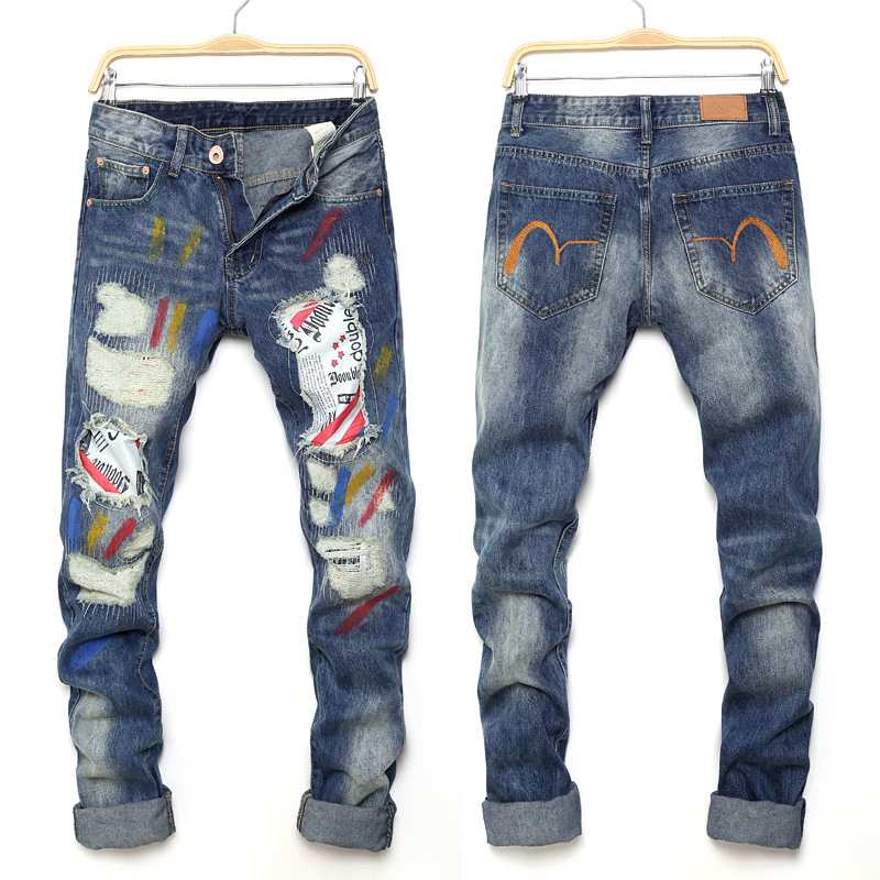 ФОТО Men's Clothes Jean Style Hole Brand Biker Patches Jeans Men Meth Casual Denim Pant Trousers Hole Slim Pants Straight jeans 28-36