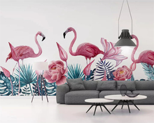 beibehang Custom Nordic Southeast Asia Fresh Green Hand Painted Tropical Plant Flamingo Background papel de parede 3d Wallpaper