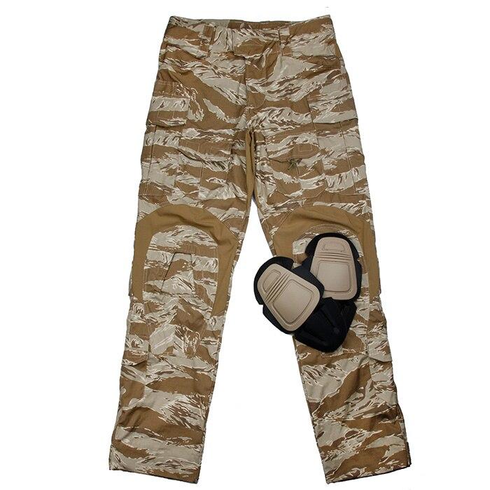 TMC Desert Tiger Stripe パターン G2 戦闘パンツ膝パッドセット米国オリジナル切断サイズ (SKU051323)  グループ上の スポーツ & エンターテイメント からの 狩猟パンツ の中 1