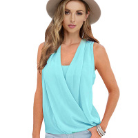 Summer women's explosion section chest V-neck sleeveless wild chiffon stitching back top New round neck long-sleeved T-shirt Kor