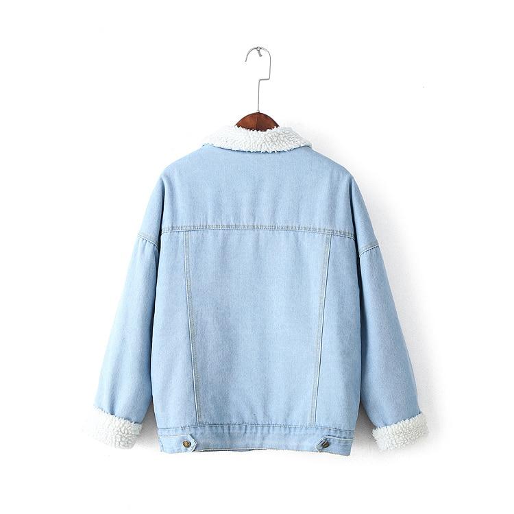 Coton La Ami Épais De Agneaux Courte Denim Veste Velours Femmes Manteau Manches Blue Lâche Petit Chaud Taille Longues Plus H341 D'hiver Laine gSqn4x