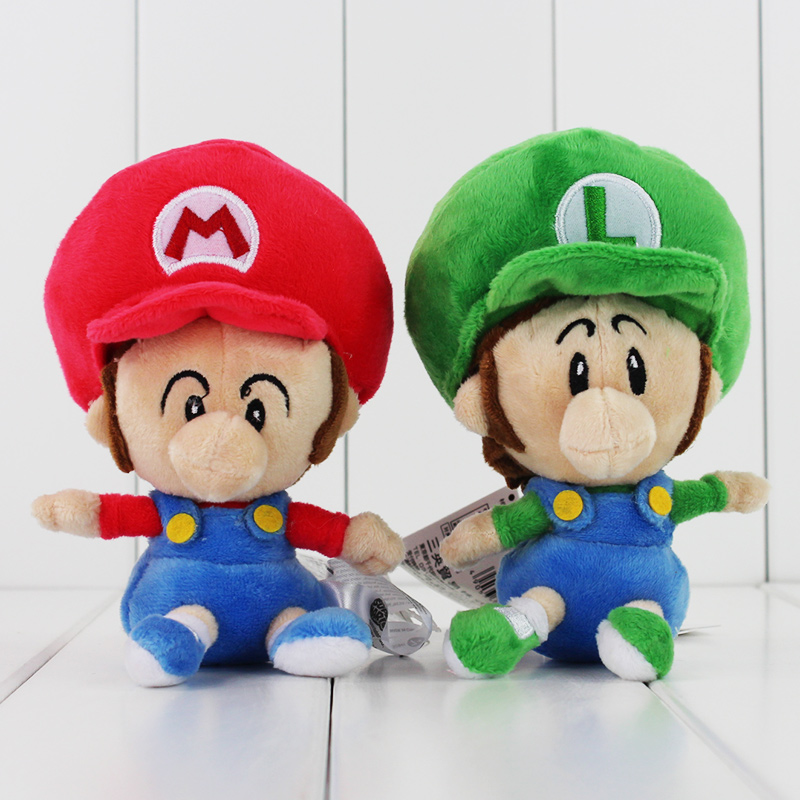 New In Stock 14cm Super Mario Bros Mario Luigi Plush Stuffed Dolls Soft Baby Toys 2pcs/lot  цена и фото