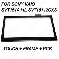 """new 15.6"""" for Sony vaio SVT151 SVT151A11L SVT15112CXS Touch screen glass + frame digitizer panel & front bezel fix replacement"""