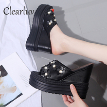 New summer sandals muffin bottom wear wedge with high heel 11.5cm fashion and slippers thick non-slip flower