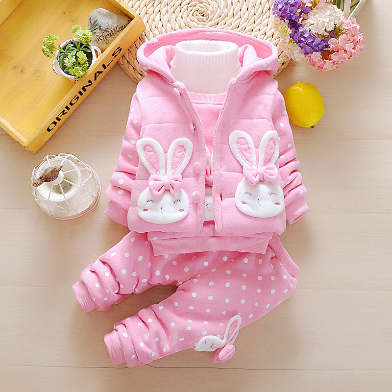 Baby Girl Winter Clothes Sets Hooded Down Jacket Rabbit Print Overalls Snow Wear Children Toddler Clothing 3 pcs 1 2 3 4 Years rabbit print split top