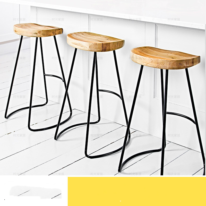 Wooden Metal Modern Minimalist Home Iron Wood Bar Chair Stool Fashion Cafe Bar Chair Stool bar stool breakfast kitchen bistro cafe vintage wood dining chairs modern bar chair dropshipping