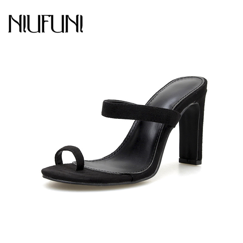Casual Sets Toe High Heels Womens Slippers Leather Sandals Summer Thick Heel Shoes 2019 New Ladies Female