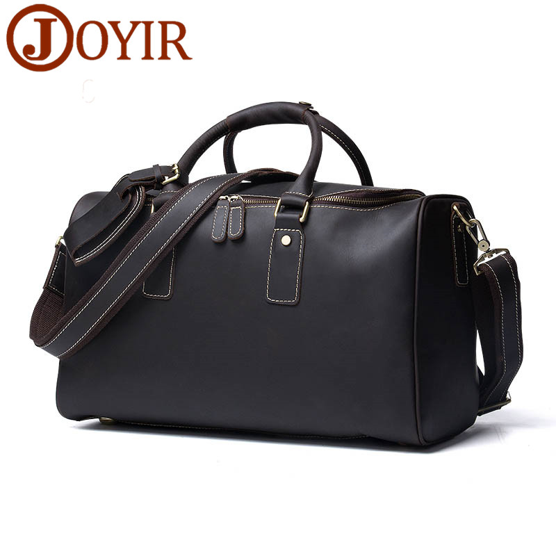JOYIR 100% Genuine Leather Men Travel Bags Luggage Travel Men Handbag Leather Luxury Duffel Bag Men Shoulder Bag Large Tote 320 crazy horse genuine leather men travel bag large handbag vintage duffel bag men messenger shoulder bag tote luggage bag
