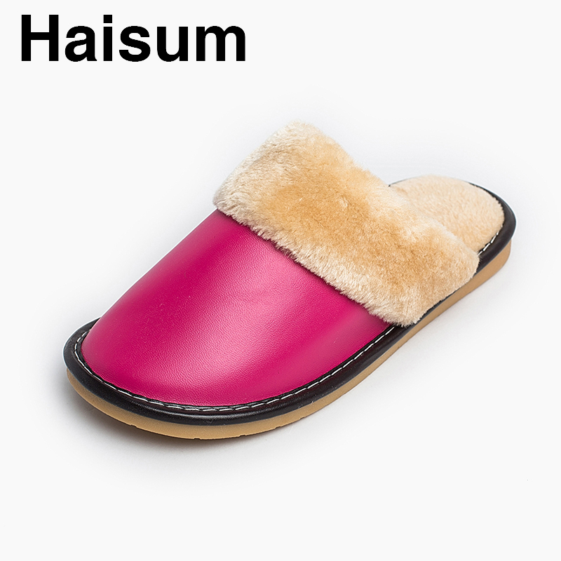 Ladies Slippers Winter Pu Leather Thick With Plush Home Indoor Non-slip Thermal Slippers 2018 New Hot Sale Haisum H-8813 plush home slippers women winter indoor shoes couple slippers men waterproof home interior non slip warmth month pu leather