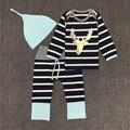 3 Шт./компл. Моды Baby set Полосатый мальчик одежды С Длинными рукавами брюки hat Симпатичные Лось Отпечатано Мужская Одежда 0-2Y детские TR-006