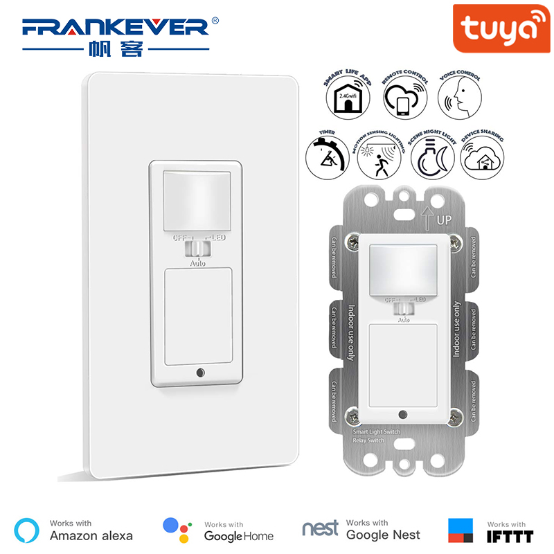 Interrupteur intelligent FrankEver avec capteur de mouvement 10A Wifi interrupteur de lumière télécommande vocale et minuterie fonctionnent avec l'assistant Alexa Google