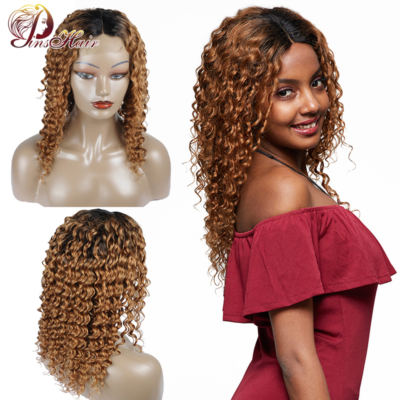 Pinshair Ombre Blonde Lace Front Human Hair Wigs For Black Women T1B/30 Peruvian Deep Wave Closure Wigs Non-Remy Lace Front Wig