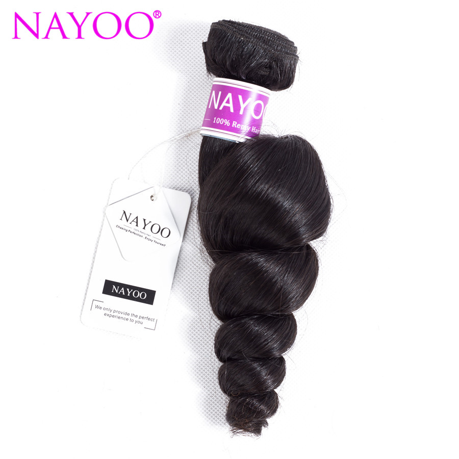 NAYOO Brazilian Loose Wave Hair Bundles Natural Color 1 Piece 100% Human Hair Weave Remy Hair Extensions Can Be Dyed 8-26