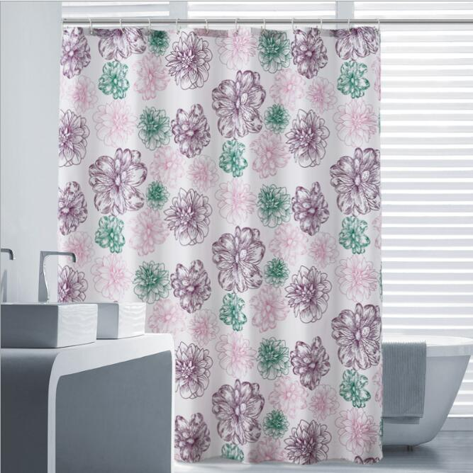 Fyjafon Bathroom Shower Curtain Polyester Fabric Bath Curtain Colorful Flowers Waterproof Moldproof 500g Thick Shower Curtain