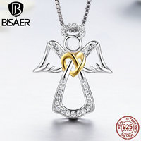 925 Sterling Silver Guardian Angel Heart Feather Pendant Necklace Girls Necklace Collar Authentic Silver Jewelry Christmas