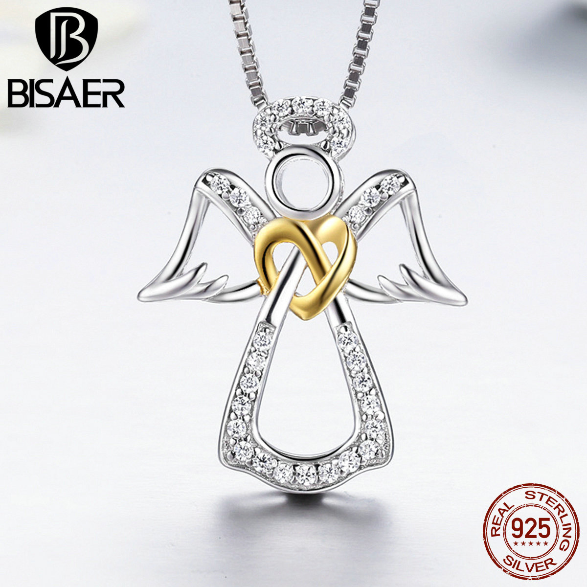 Valentine Gift 925 Sterling Silver Guardian Angel, Heart Feather Pendant Necklace Girls Necklace Collar Authentic Silver Jewelry