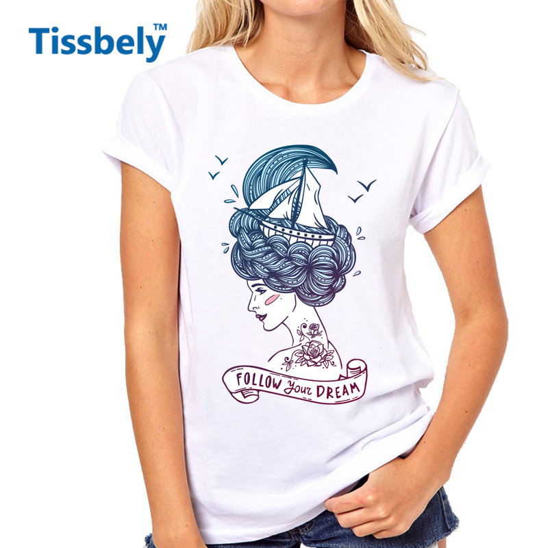 Tissbely Young Beautiful Woman Print T Shirts Ship in Waves of Curly Sea-Like Hair and R ...