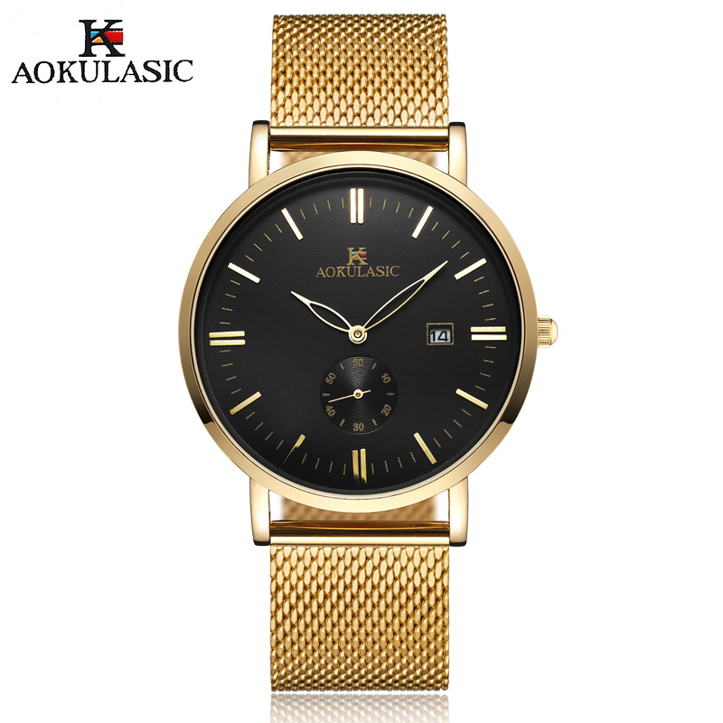 Men Watch Luxury Top Brand AOKULASIC Stainless Steel Mesh Strap Quartz-watch Ultra Thin Business Wrist Watches Relogio Masculino fashion watch top brand oktime luxury watches men stainless steel strap quartz watch ultra thin dial clock man relogio masculino