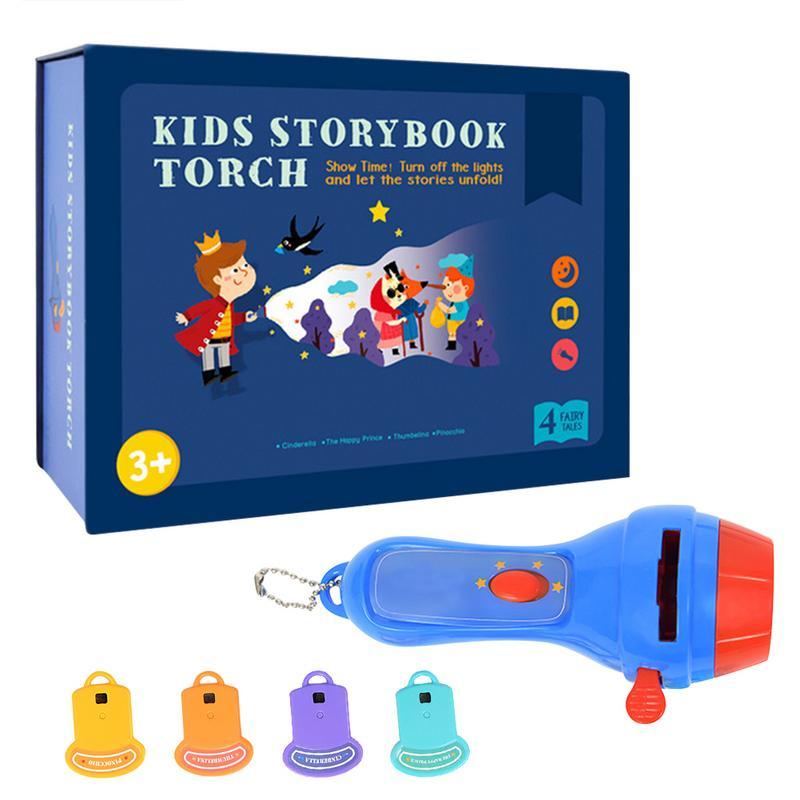 Children Mini Projector Torch Educational Toys Kids Flashlight Story Book Sleep Light Projection Lamp Led Fairy Tale Perform Set
