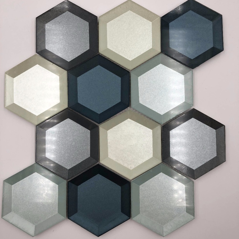 kitchen backsplash Bathroom Shower Counter top home decor tiles,Hexagon glass mosaic tiles,LSHX01