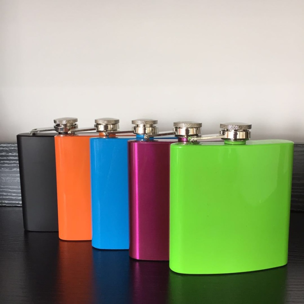 50pcs lot 6oz Stainless Hip Flasks Russia Flagon Colors Painted