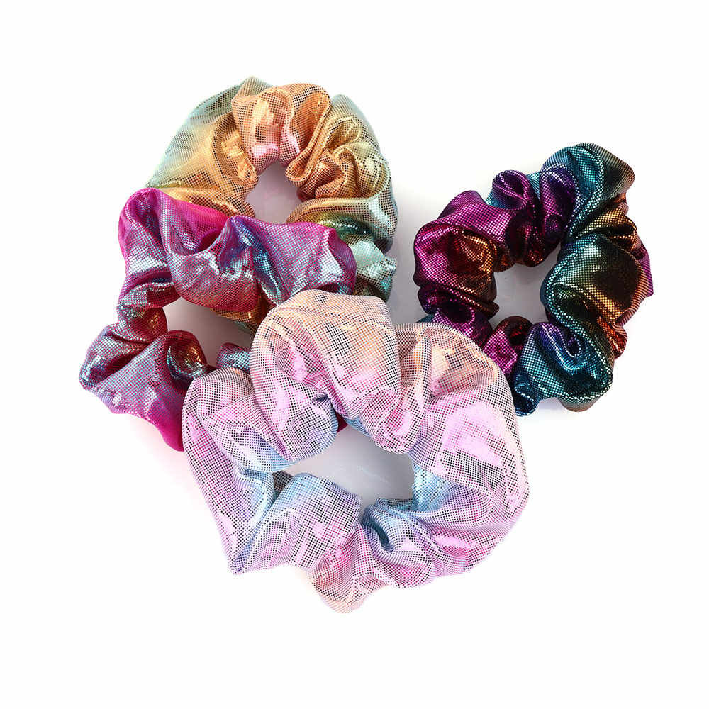 1 Pcs Fashion Elastic Women Hair Rope Glitter Ponytail Holder Laser Radiation Colorful Hair Ring Scrunchy Hair Band Hair Styling