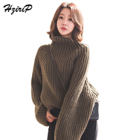 HziriP 2017 New Fashion Loose Turtleneck Sweater Women Winter Full Sleeve Knitted Pullovers Khaki Warm Sweaters