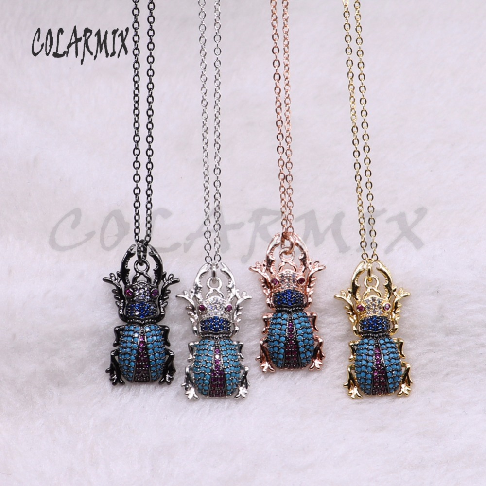 5 strands insects bugs necklace for lady Bee pendants small size jewelry 18 mix color necklace pets beads 3744