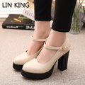 LIN KING New Black Womens High Heels Platform Lolita Ankle Strap Chunky Heels Faux Leather Womens Pumps Sexy Ladies Party Shoes