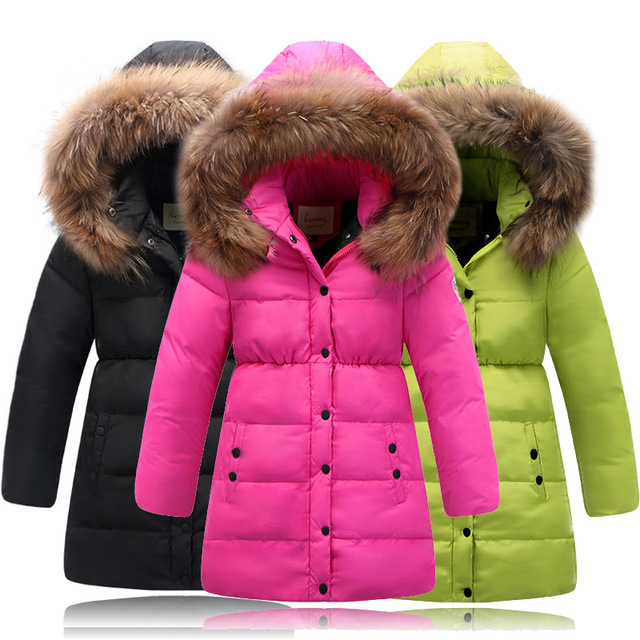 0e78dbb22a60 Winter Girls Down Jackets Fur Collar Thick Warm Long Zipper Hooded White  Duck Down Coats Solid Outerwear Child Girls Clothes 14Y