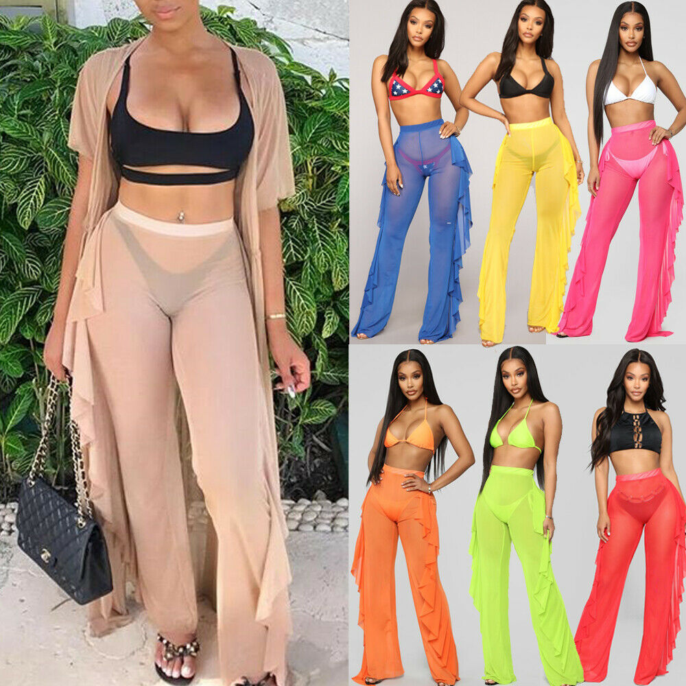 2019 Newest Summer Sexy Women Mesh Ruffles Sheer   Wide     Leg     Pants   Long Trousers Cover Up   Pant