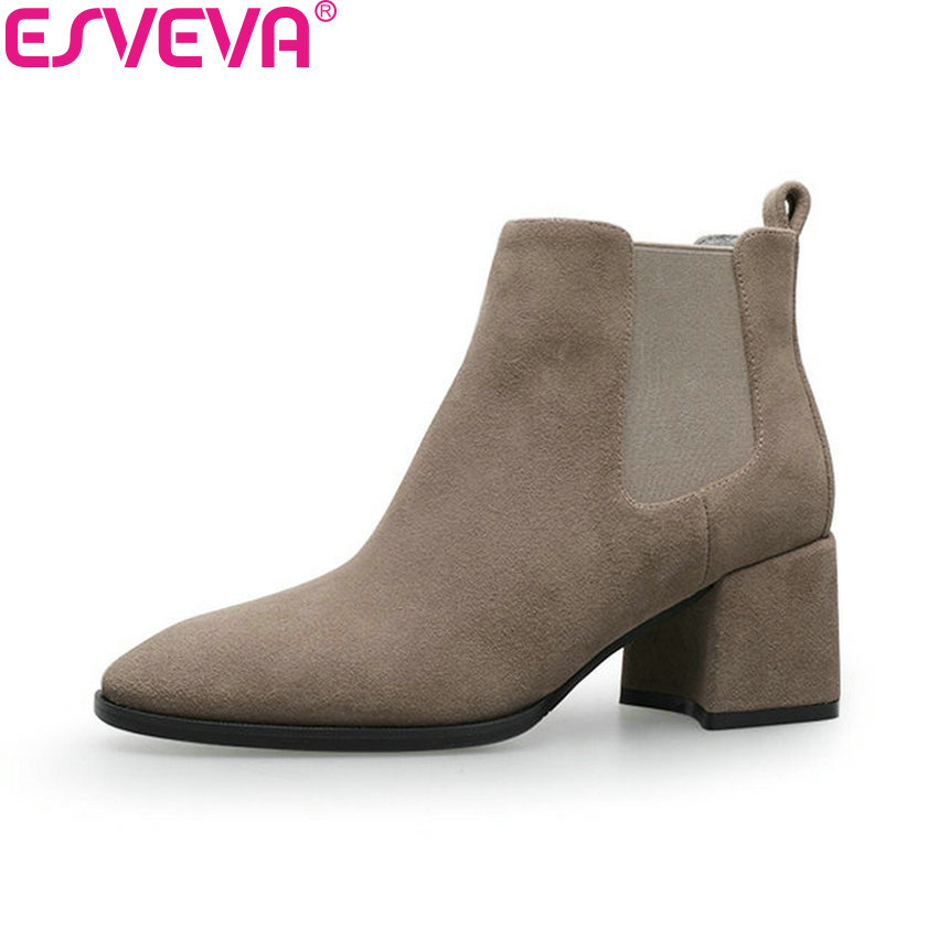 ESVEVA 2019 Ankle Boots for Women Shoes Round Toe Square High Heels Synthetic Woman Boots Shoes Autumn Ladies Boots Size 34-39 esveva 2018 synthetic pu women boots square high heels ankle boots round toe fashion short boots zippers ladies shoes size 34 42