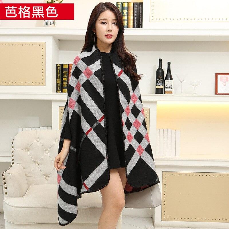 Новинка, роскошный брендовый женский зимний шарф, теплая шаль, женское Клетчатое одеяло, вязанное кашемировое пончо, накидки для женщин, echarpe - Цвет: Ba black white