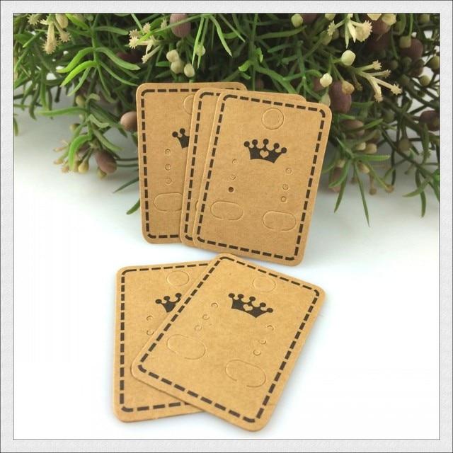 Stock Kraft Paper Earring Cards Tags 4 5x3 2cm Oblong Shape Brown Jewelry Ear Studs